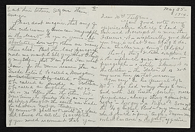 Henry Ossawa Tanner letter to Eunice Tietjens