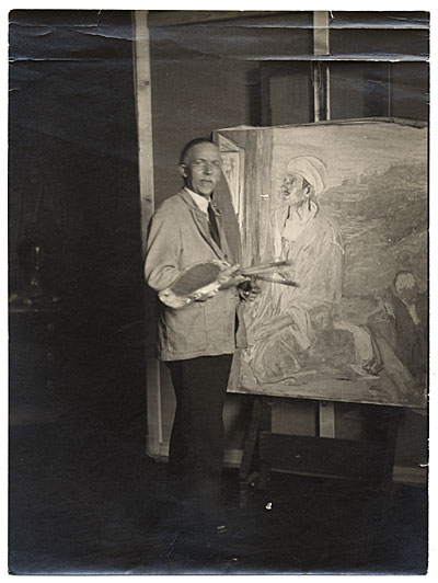 Henry Ossawa Tanner with palette and easel