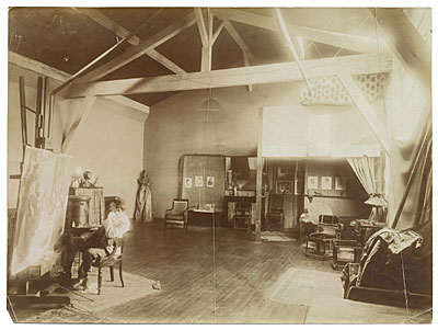 Henry Ossawa Tanner at work in his studio
