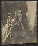 Jessie Olssen Tanner and Jesse Ossawa Tanner posing for Henry Ossawa Tanners painting Christ and his mother studying the scriptures