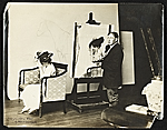 Edmund C. Tarbell at work on Girl Putting on Her Hat