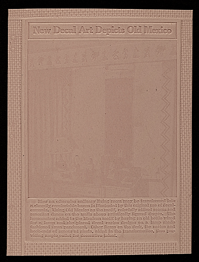 [Embossed mold of an advertising plate]