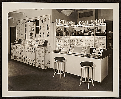 [Meyercord Co. decal shop display]