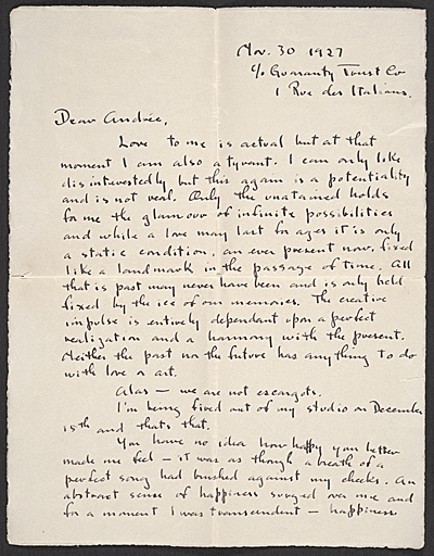 Isamu Noguchi, Paris, France letter to Andrée Ruellan, New York, N.Y.