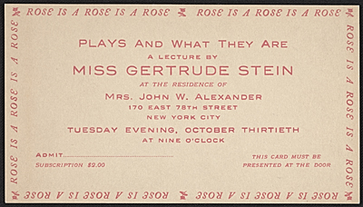 Ticket to Gertrude Steins lecture