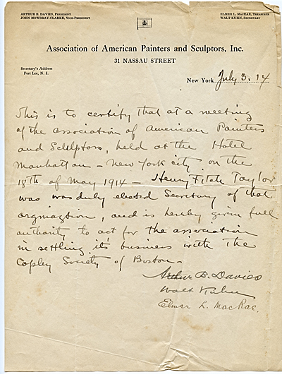 Memorandum certifying Henry Fitch Taylor as Secretary of the Association of American Painters and Sculptors, July 3, 1914. Archives of American Art, Smithsonian Institution.