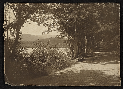 [Road and pond to the Abbott Handerson Thayer home]
