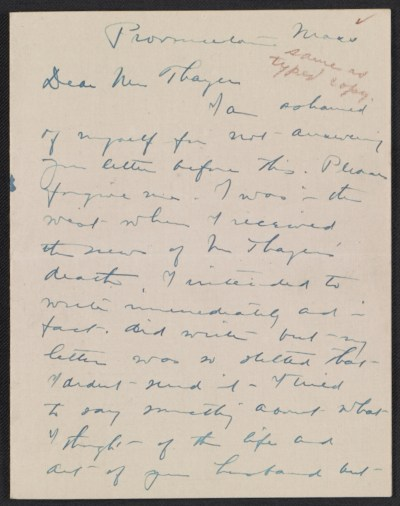 [Charles Webster Hawthorne letter to Emma Beach Thayer]