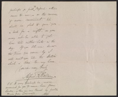 A letter from Alfred R. Wallace to Abbott H. Thayer