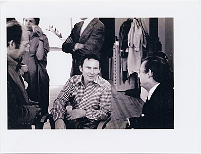 [Wayne Thiebaud one man exhibit at Allan Stone Gallery, (left to right) Philip Pearlstein, Richard Estes, and Wayne Thiebaud]