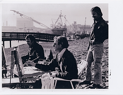 [Wayne Thiebaud (center) painting in the China Basin area of San Francisco with Gregory Knodas (left) and Gene Cooper (right).]