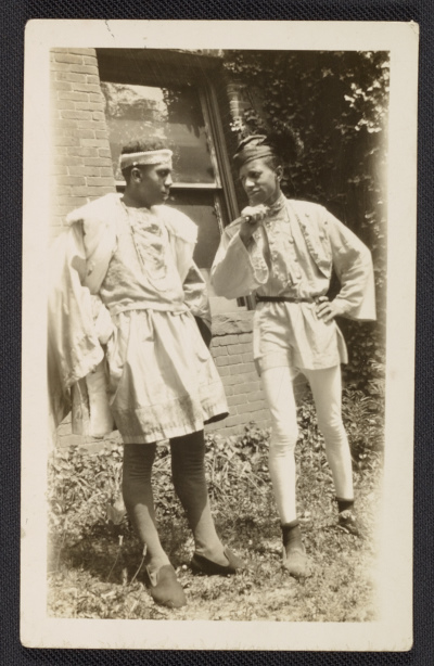 Costumes designed by Alma Thomas for Howard University Players, unidentified men in photographs