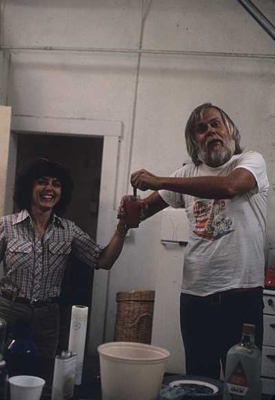 Constance Lewallen and John Baldessari in his studio