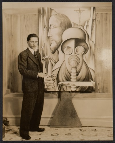 [Abraham Joel Tobias with one of his paintings]