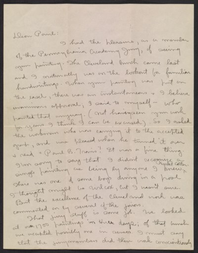 Charles Ephraim Burchfield letter to Paul B. Travis