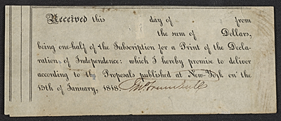 [Receipt for a subscription for a print of the Declaration of Independence]