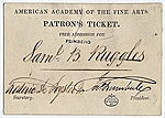 Ticket to the American Academy of the Fine Arts