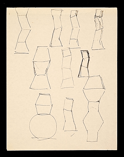 Sketches of pot for the Hand and Spirit Gallery