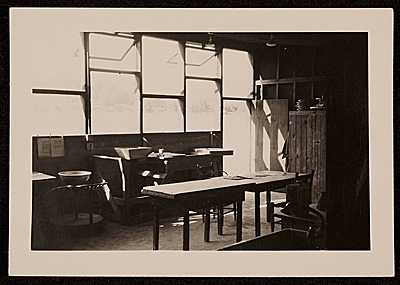 Interior of the pottery shop at Black Mountain College