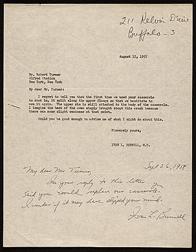 Ivan L. Bunnell, Buffalo, N.Y. letter to Robert Turner, New York, N.Y.