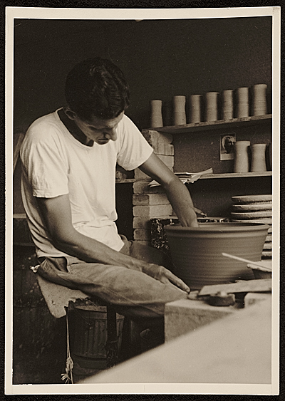 Robert Chapman Turner at the potters wheel
