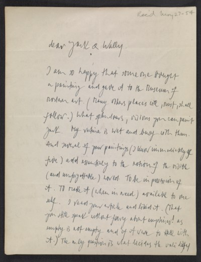 Letter from Stefan Wolpe to Jack Tworkov and Wally (Rachel Wolodofsky)