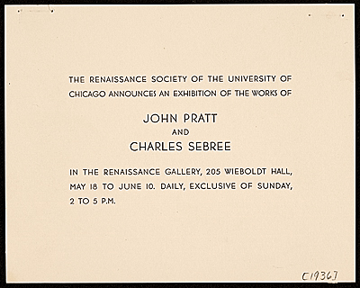 [John Pratt and Charles Sebree exhibition announcement]