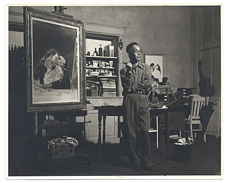 Kuniyoshi in his studio near a partially completed painting.