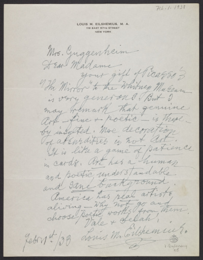 [Louis M. (Louis Michel) Eilshemius, New York, N.Y. letter to Peggy Guggenheim]