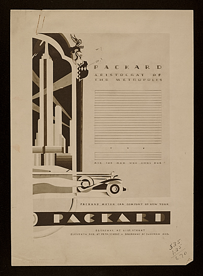 Mock-up: John Vassos add for Packard Motor Company