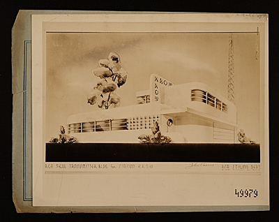 Radio Corporation of America transmitter building for station KROW designed by John Vassos