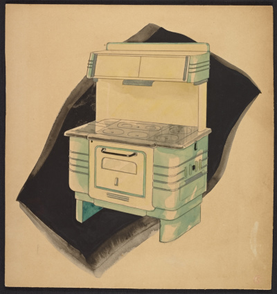 John Vassos concept drawing for a kitchen stove and range