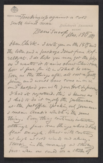 A letter from Elihu Vedder to