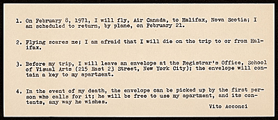 Note from Vito Acconci on his fear of flying