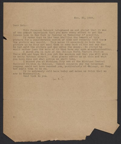 Letter from W. Charles Thompson to Robert C. Vose