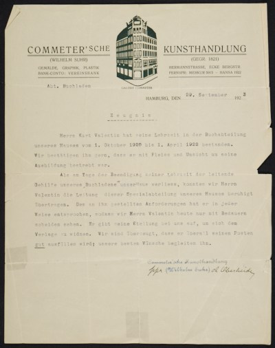 A letter of recommendation for Curt Valentin from Commetersche Kunsthandlung
