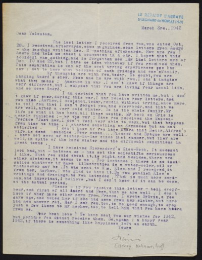 A letter from Henry Kahnweiler to Curt Valentin