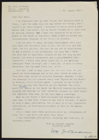 A letter from Will Grohmann to Jane Wade discussing the death of Curt Valentin