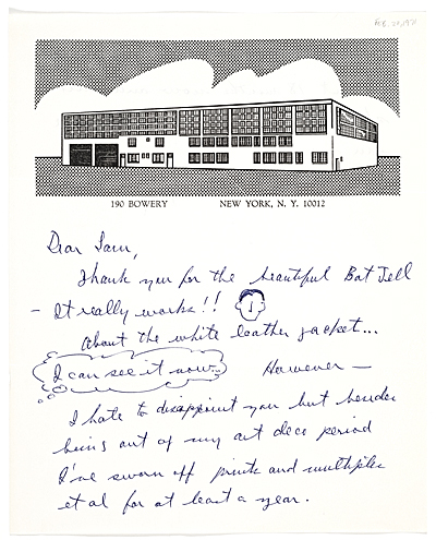 Roy Lichtenstein, New York, N.Y. letter to Samuel J. Wagstaff
