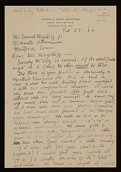 [Thomas Hart Benton, Kansas City, Mo. letter to Samuel J. Wagstaff, Hartford, Conn.]