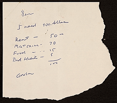 Gordon Newton note to Samuel J. Wagstaff