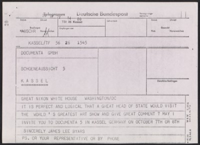 [James Lee Byars telegram to Richard M. Nixon]