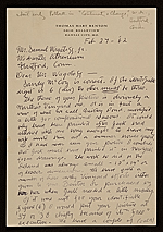 Thomas Hart Benton, Kansas City, Mo. letter to Samuel J. Wagstaff, Hartford, Conn.