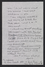 Agnes Martin letter to Samuel J. Wagstaff