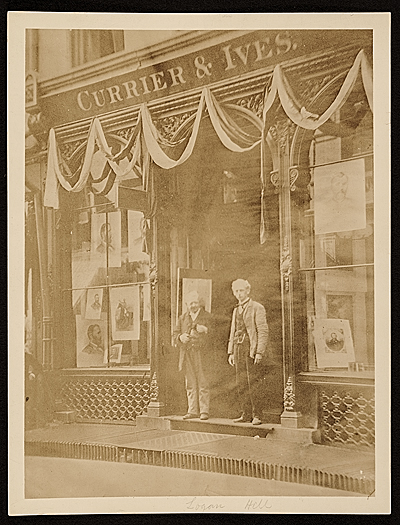 [Workers standing in front of the Currier and Ives building, New York, N.Y.]