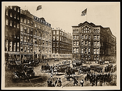 [Painting of Printing House Square, New York, N.Y.]