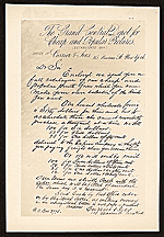 Reproduction of a letter that accompanied a Currier & Ives catalog