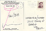 [Marvin B. Lipofsky postcard to Patti Warashina postcard back ]
