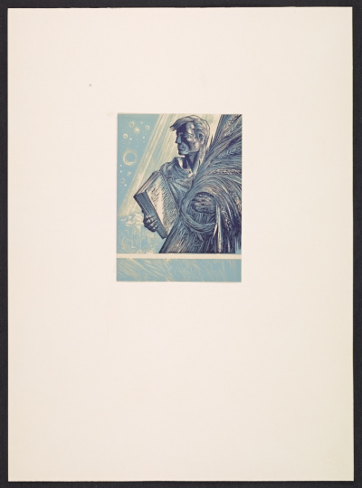 [Lynd Ward bookplate with design of a man holding a book and sheaf of wheat]