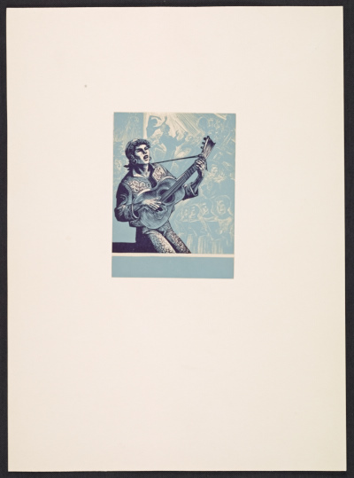 [Lynd Ward bookplate with design of a guitar player]